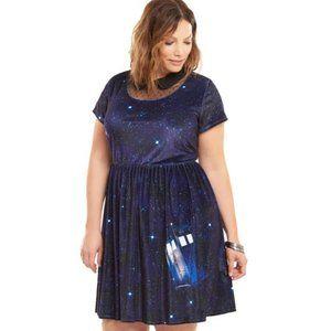 Torrid Doctor Who Tardis Print Velvet Mini Dress